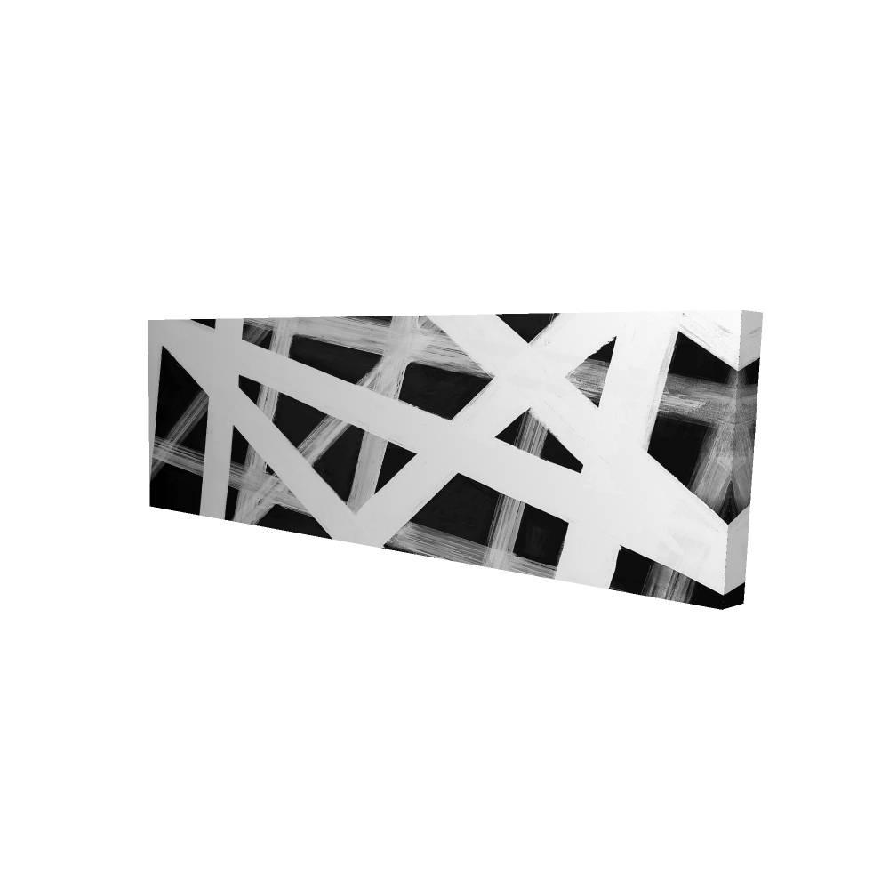 "Geometric Stripes Printed On Canvas, 20"" x 60"""