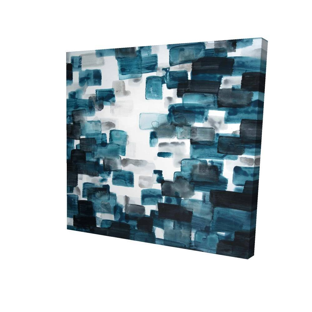 """Turquoise And Gray Shapes Printed On Canvas, 36"""" x 36"""""""