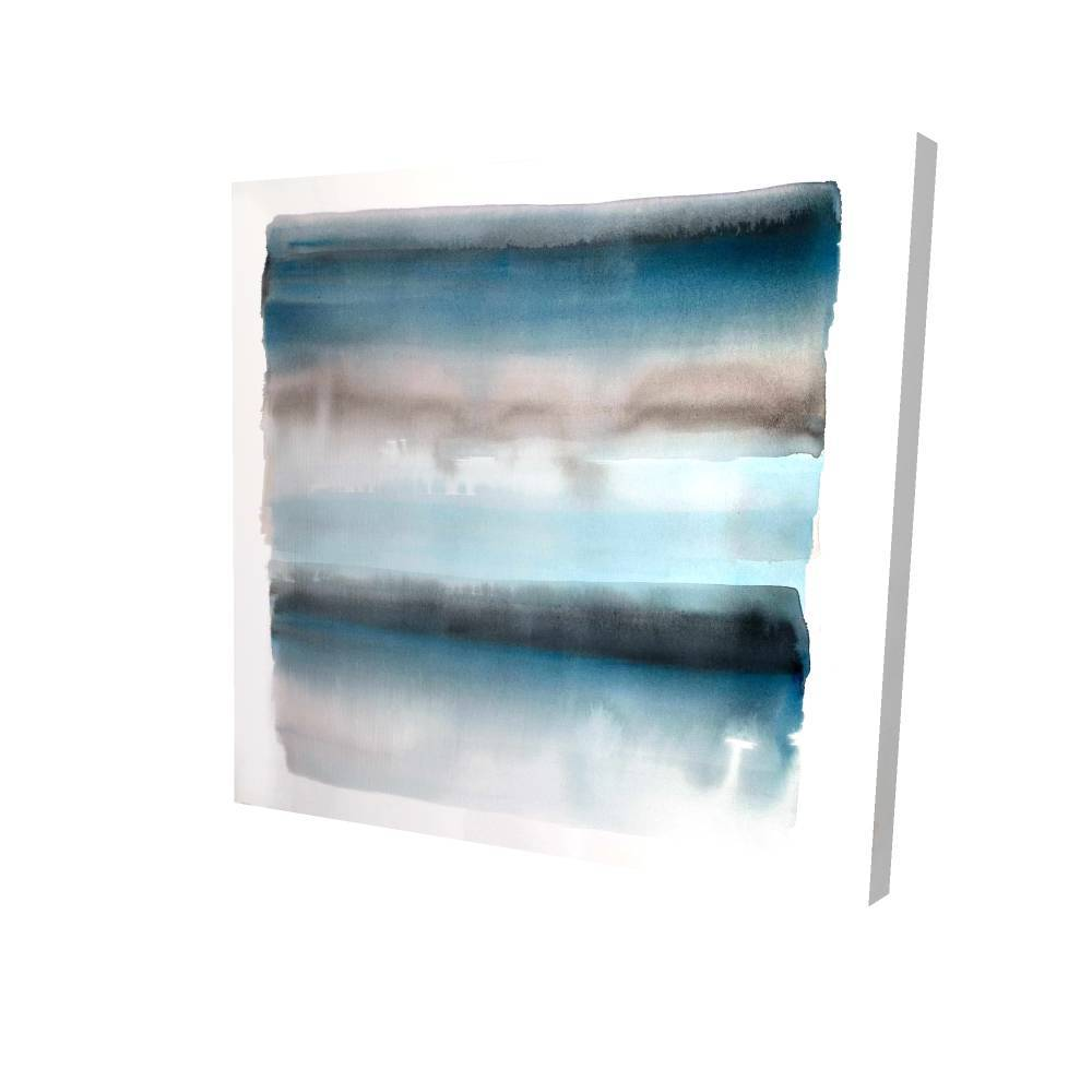 "Blue Stripes Printed On Canvas, 36"" x 36"""