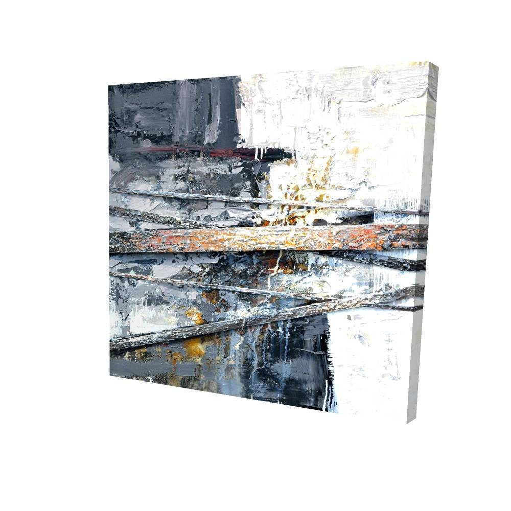 "Texturized Paint Splashing Stripes Printed On Canvas, 36"" x 36"""