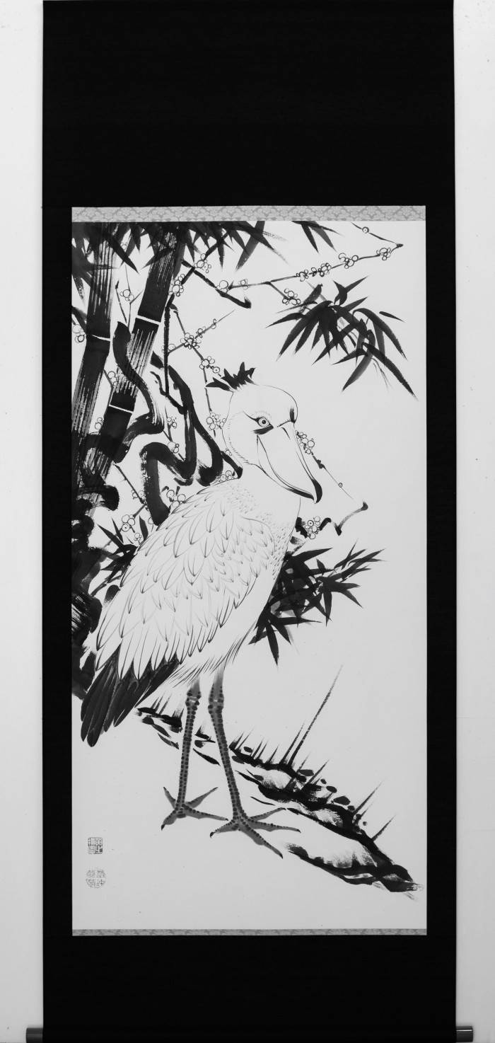 "Plum and Bamboo with Shoebill from RED LIST. a work based on the ""Pine,Plum and Bamboo with Cranes"" by Ito Jakuchu."