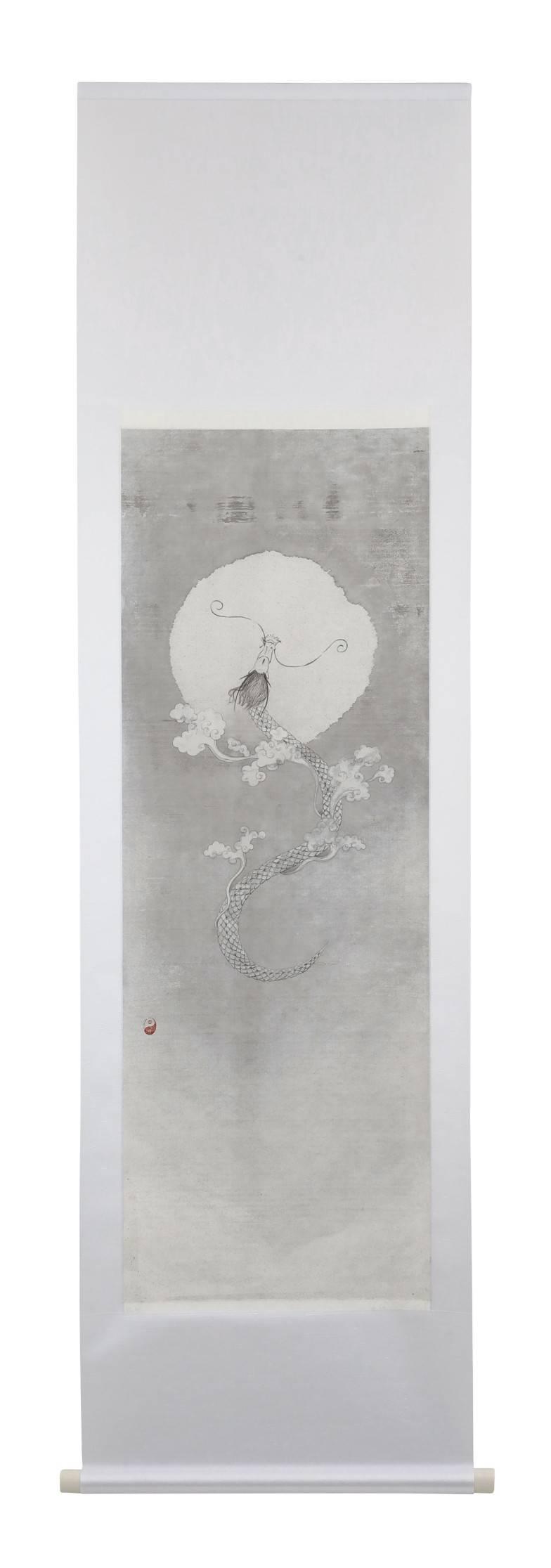 "White dragon ""Kakita River"" - integrate black with white"