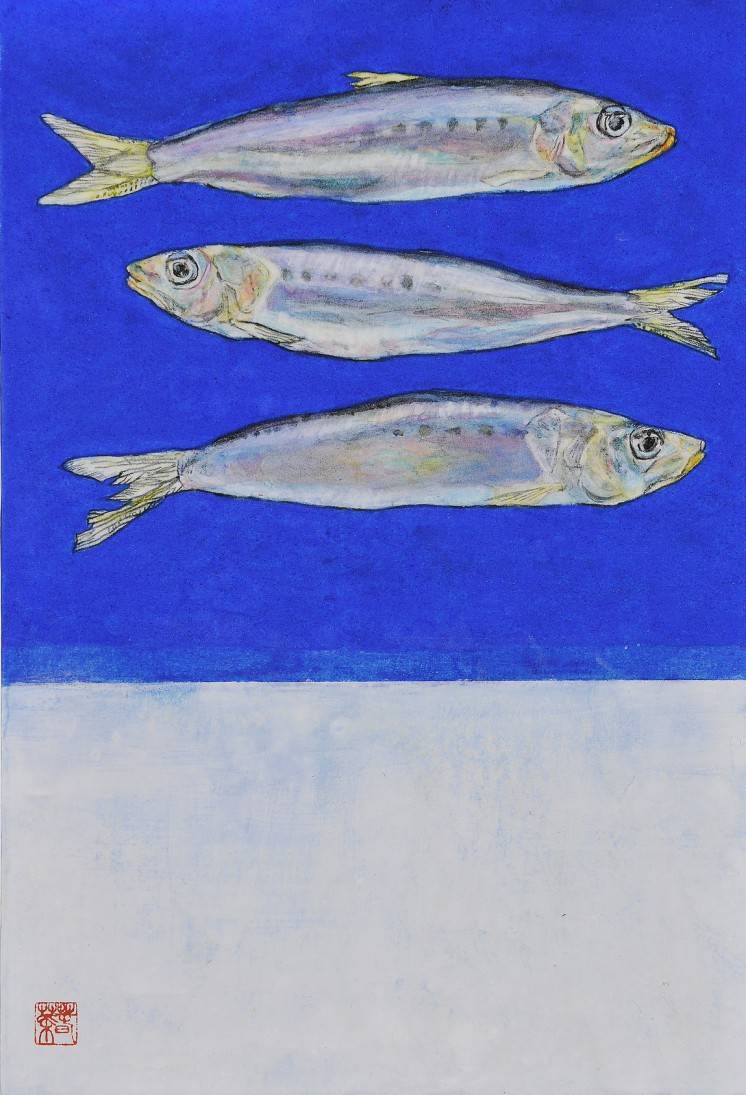 The Three Sardines. Image of your art work hanging on the wall