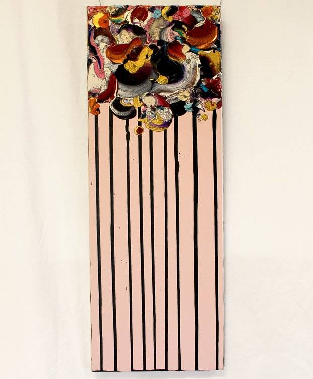 (Abstract Flowers (Pink x Purple)/66.6cm×24.2cm/アクリル絵の具, 顔料インク, 墨)