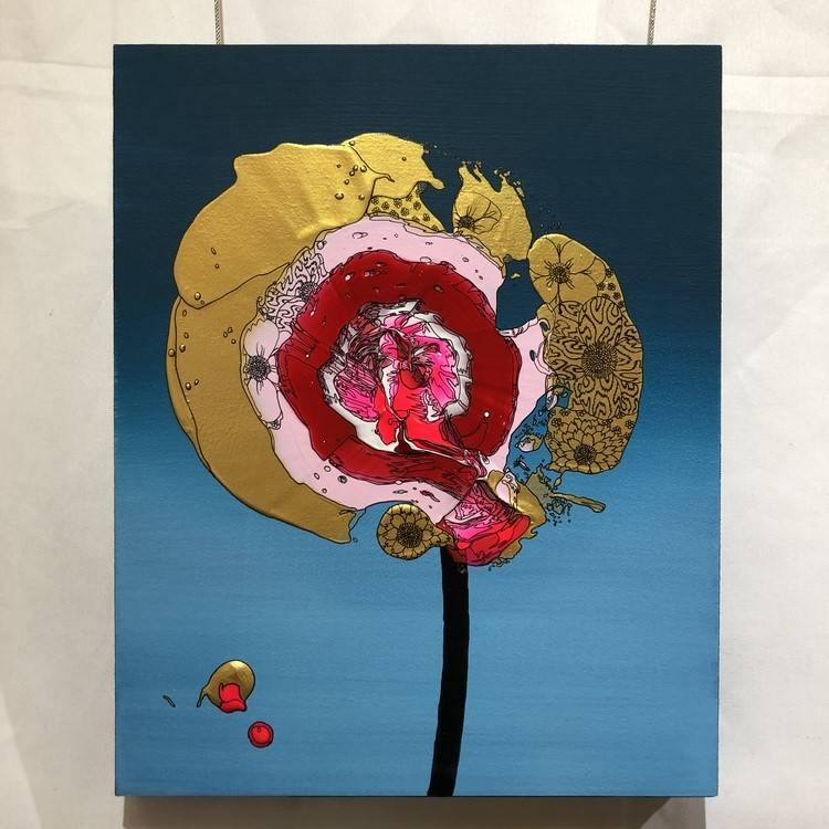 Single Flower (Blue Gradation x Red)