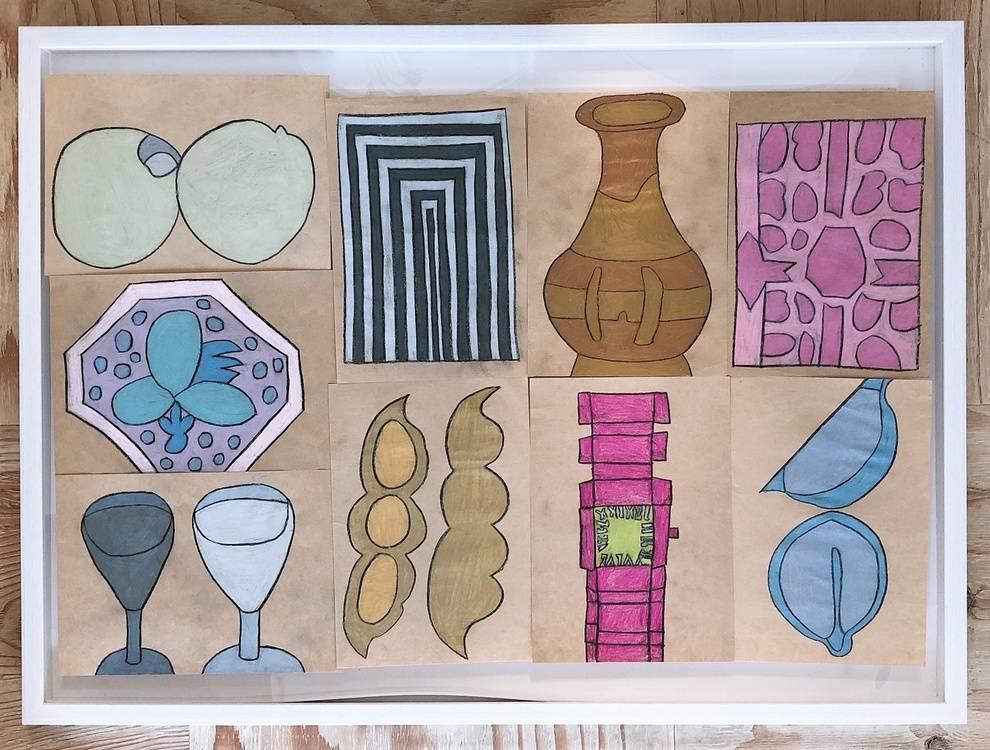 (From the left)Orange, Gray, Gold, Pink, GrapeFruit,Ffield peas, Clock, Fruit, Wine