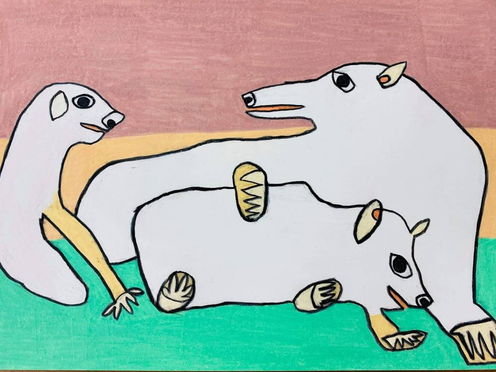 Three white bears (polar bears) resting on an ice floe Image of your art work hanging on the wall