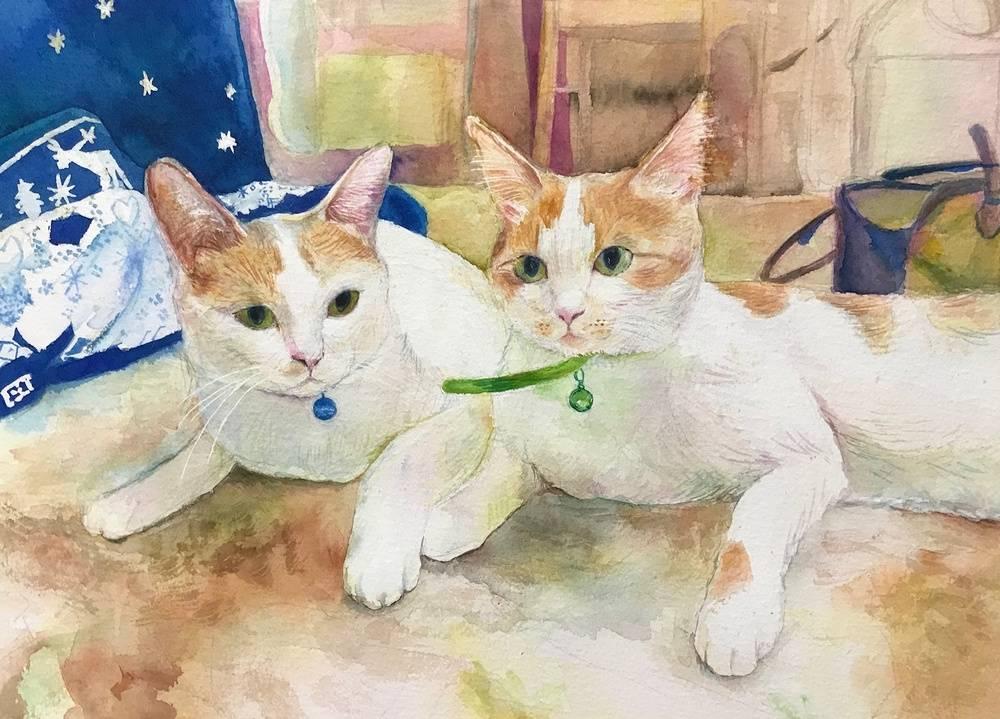 Shi-chan & Mi-chan Bild Ihres Kunstwerks an der Wand