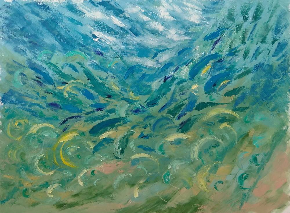 """UNDERWATER PAINTING """" OUT OF THE FOG """" (was made underwater)"""