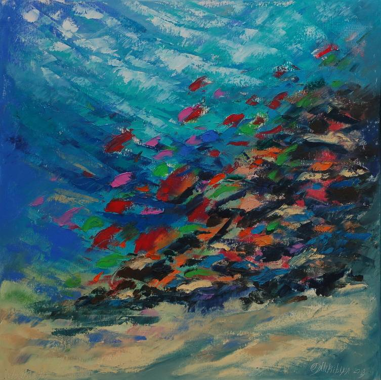 UNDERWATER PAINTING Abstract coral reef kaleidoscope. (was made underwater) あなたの作品が壁にかかっているイメージ