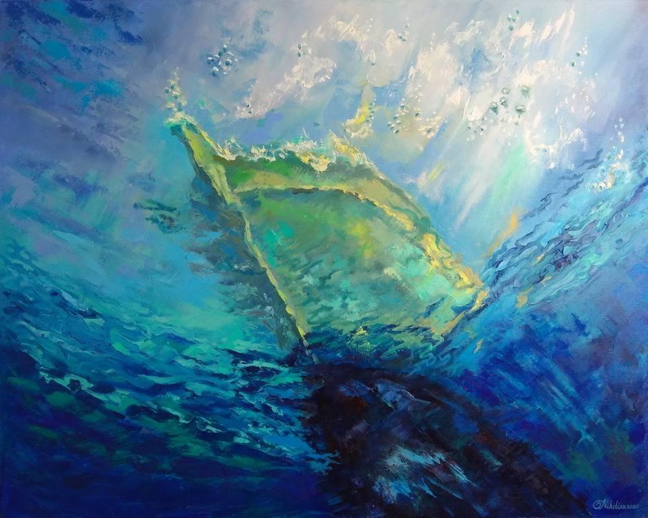 Boat. Underwater view. Bild Ihres Kunstwerks an der Wand