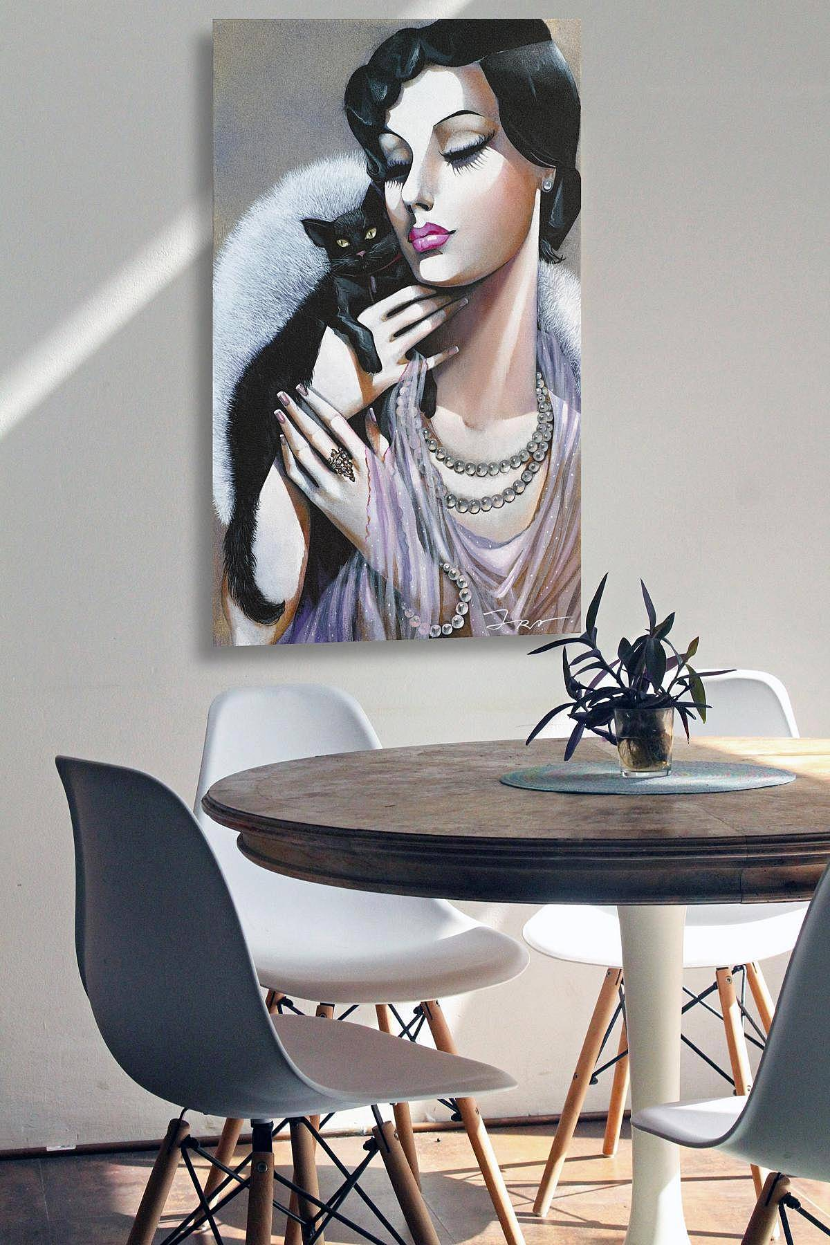 SERIES ART DECO, Lady with Black Cat