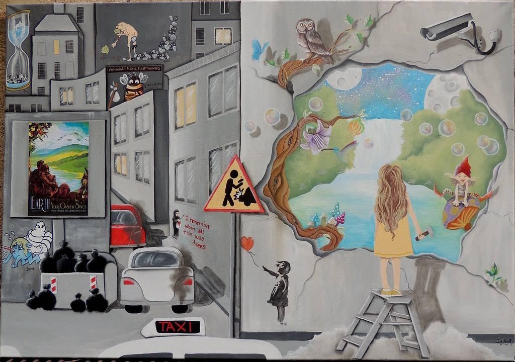 Escape Bild Ihres Kunstwerks an der Wand