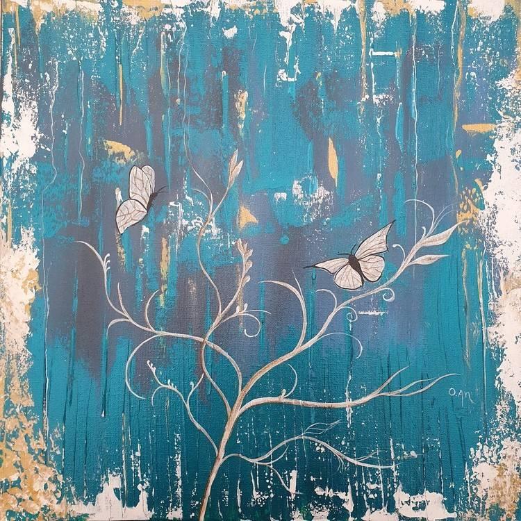 Butterflies Bild Ihres Kunstwerks an der Wand
