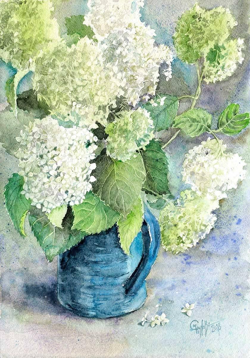 Hydrangea. Bouquet in a blue vase