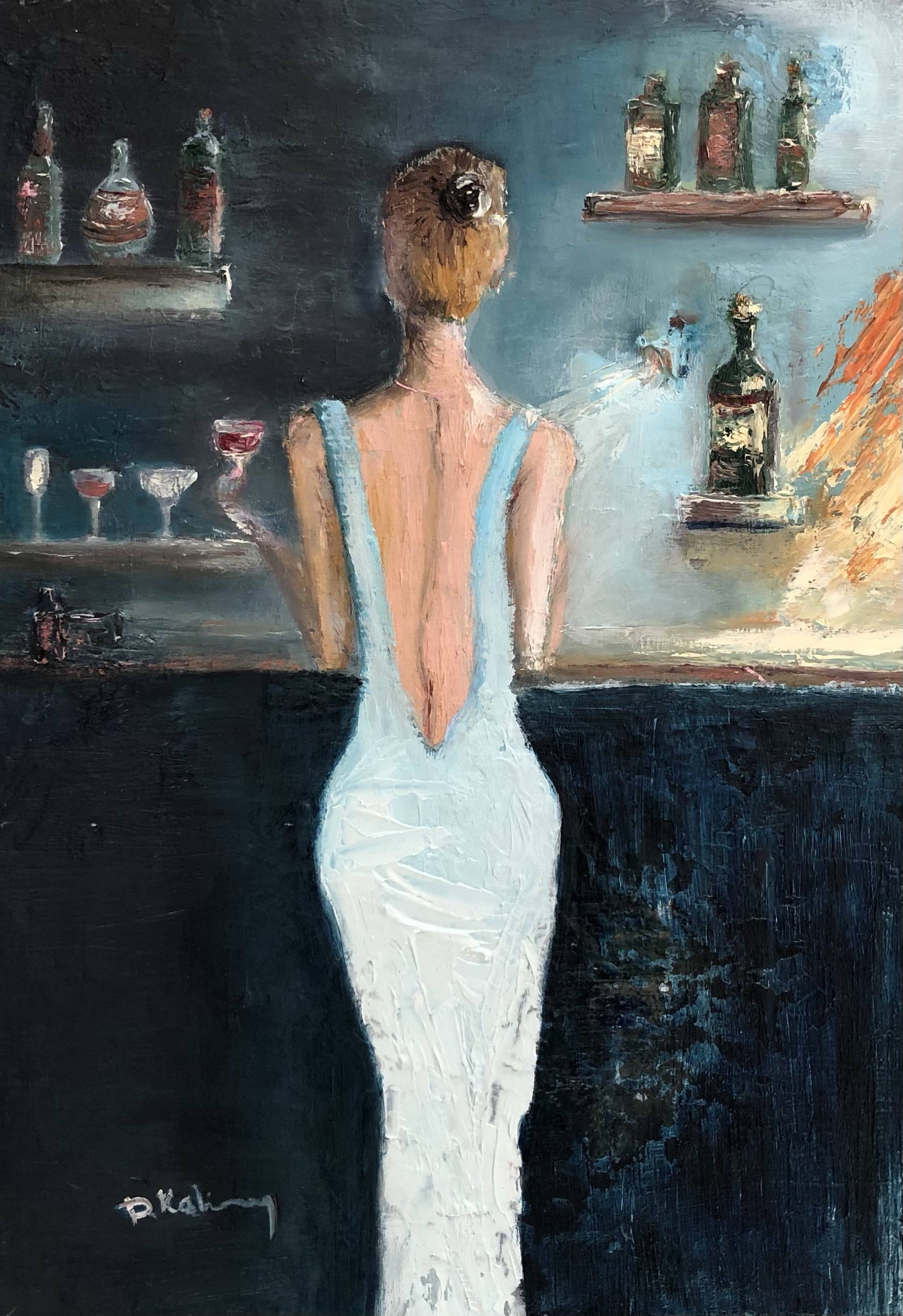 Woman at the bar counter Bild Ihres Kunstwerks an der Wand