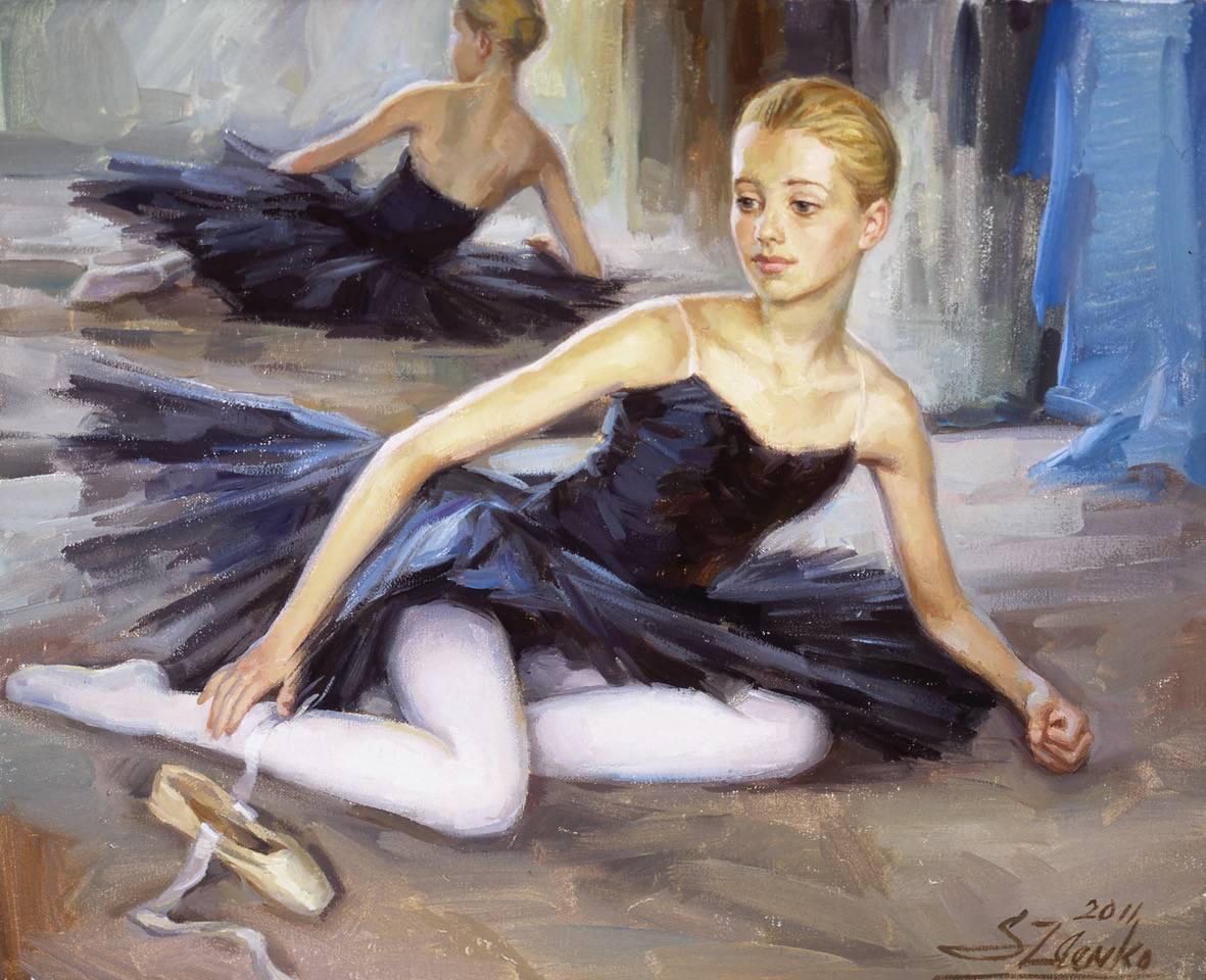 Young dancer in black tutu.