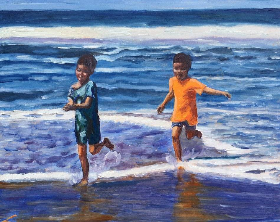 Running from the wave Image of your art work hanging on the wall