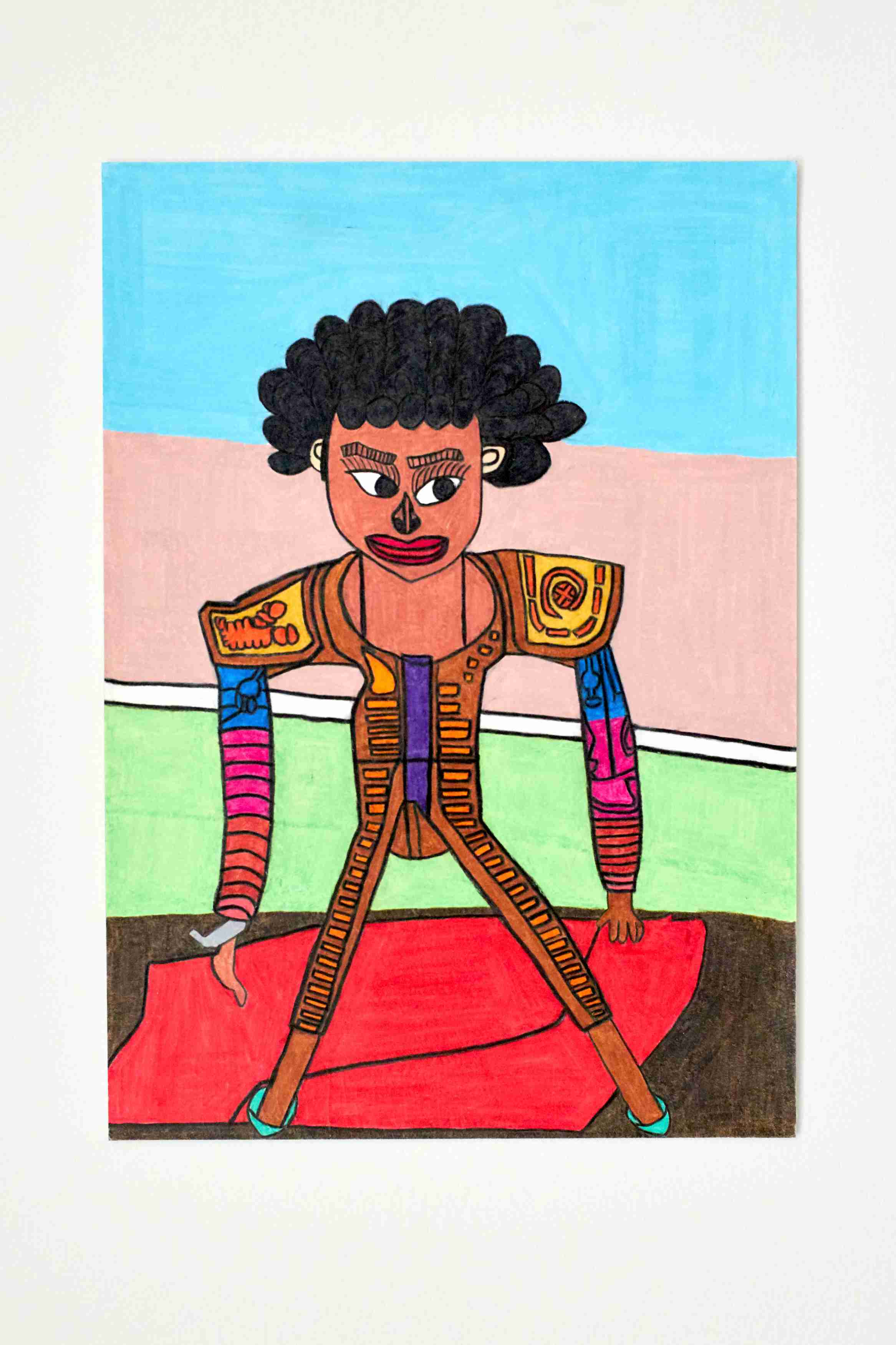 Bullfighter man with a red cloak