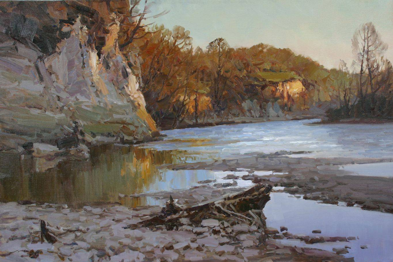 Spring, the river Zelenchuk. Image of your art work hanging on the wall