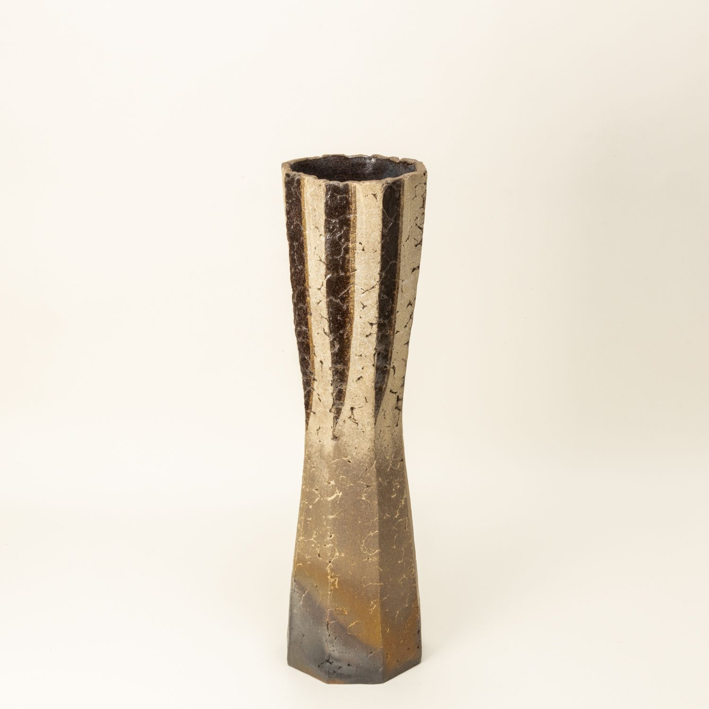 Carbonized octagonal vase