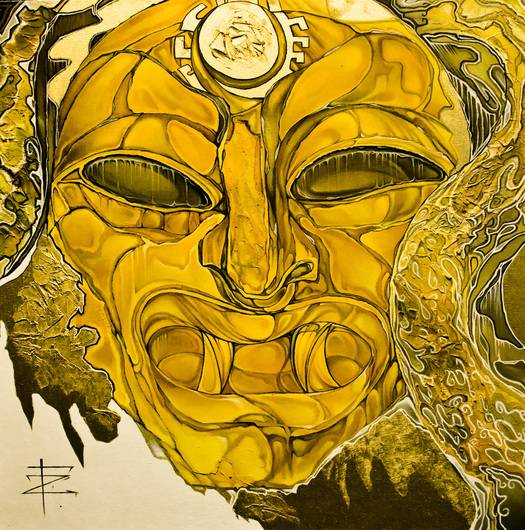 Gold mask of Peru Immagine della tua opera d'arte appesa al muro