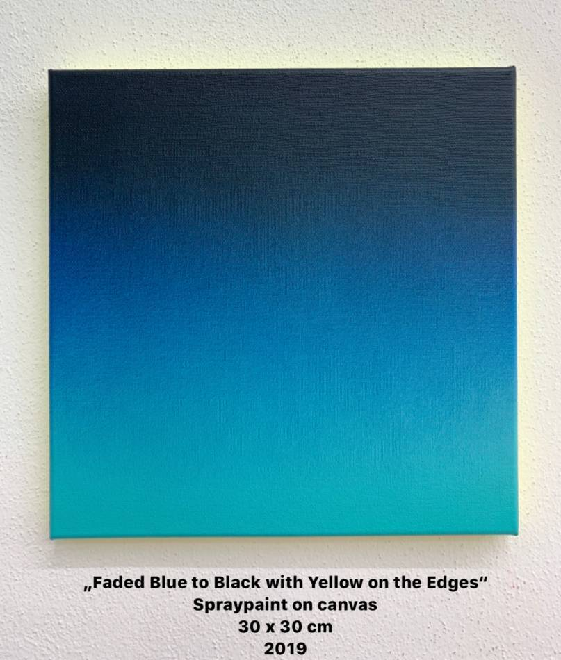 Faded Blue to Black with Yellow on the Edges