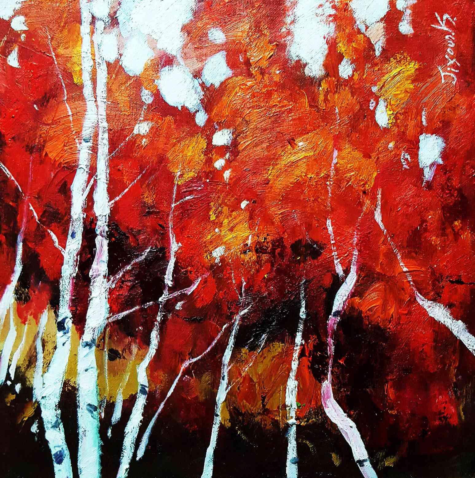 Red birch forest