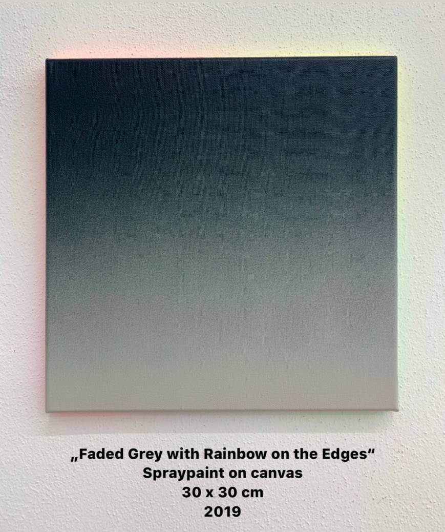 Faded Grey with Rainbow on the Edges