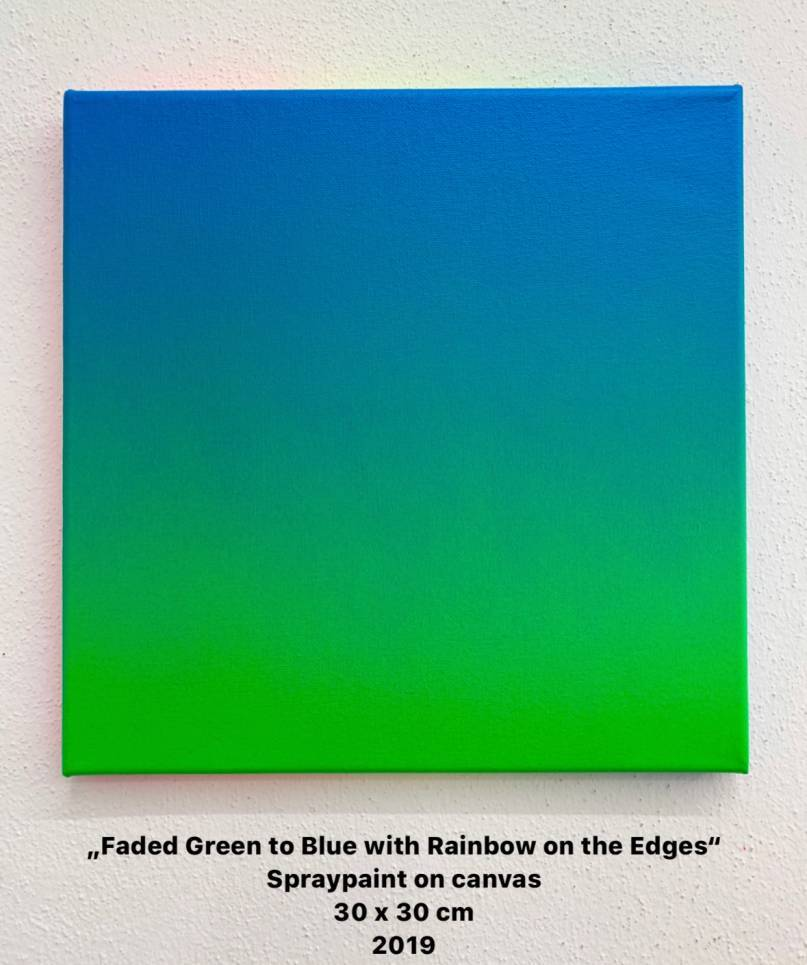 Faded Green to Blue with Rainbow on the Edges