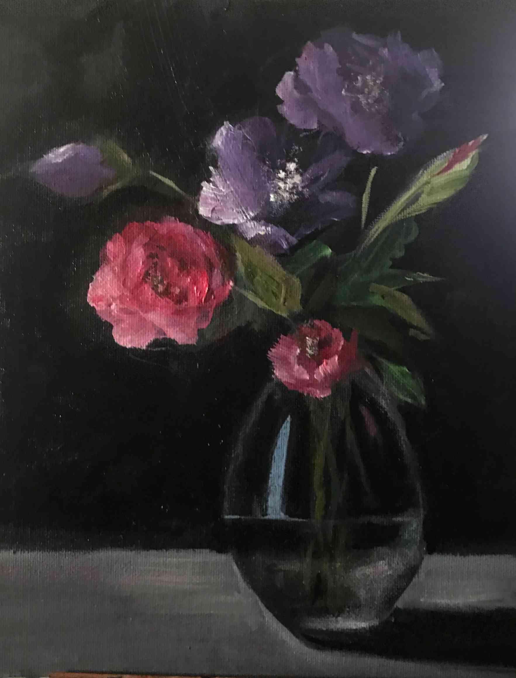 ガラスの中のラベンダーと薔薇