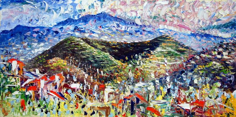 Terre dell'Etna olio su tela 100x200cm