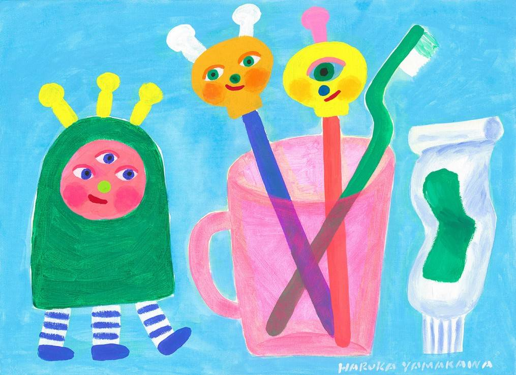 Toothbrush monsters Image of your art work hanging on the wall