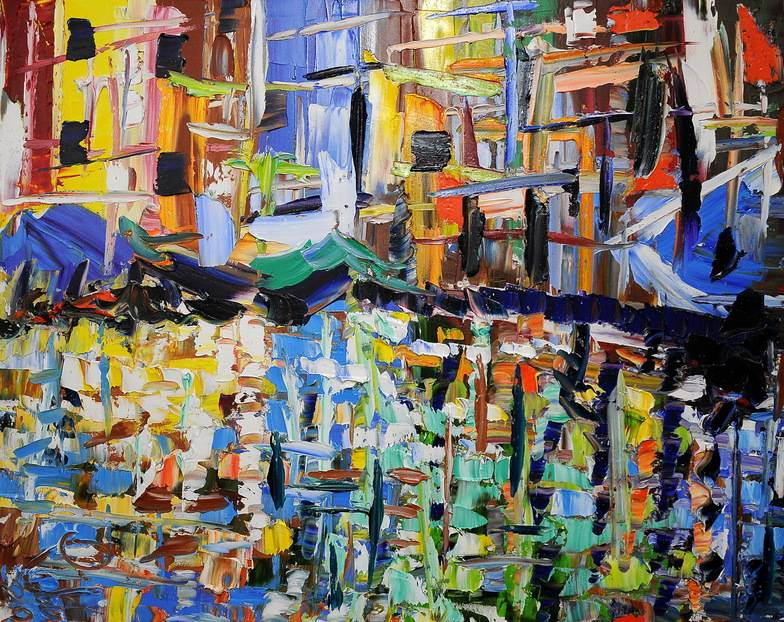 Venezia riflette olio su tela 80x100cm