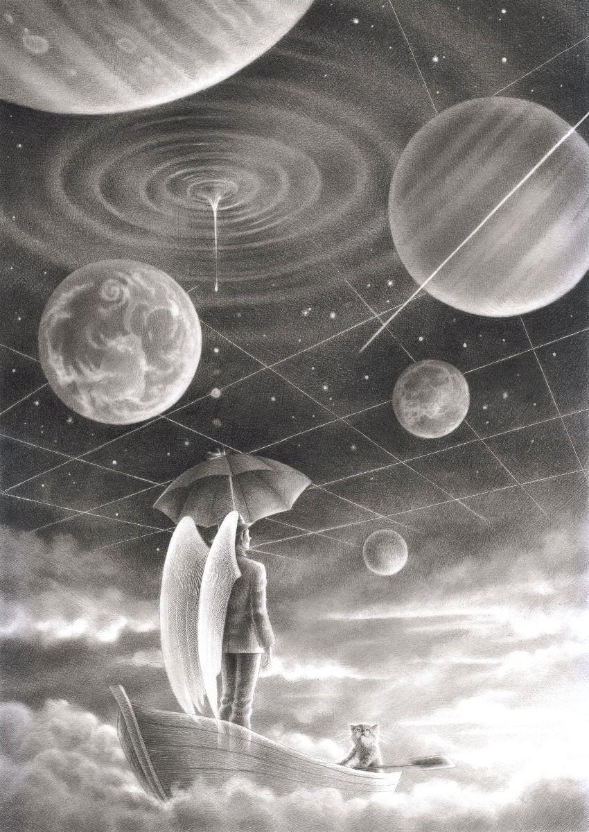 Azurite's sky, time ship