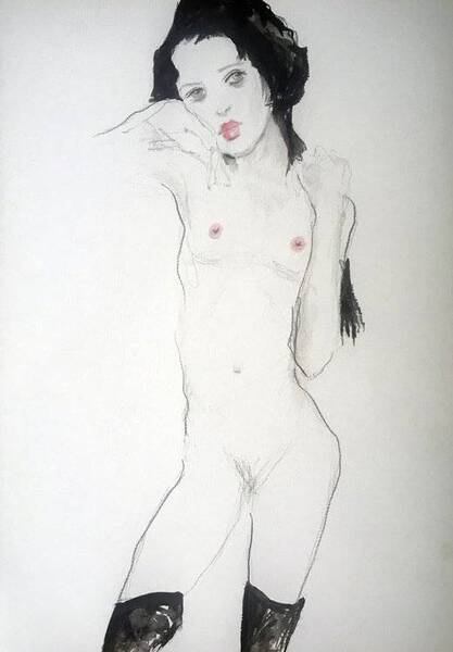 My version of Egon Schiele's girl with black hair