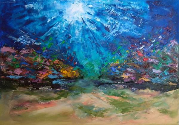 Underwater painting Coral reef of the Red Sea(wasmade underwater)