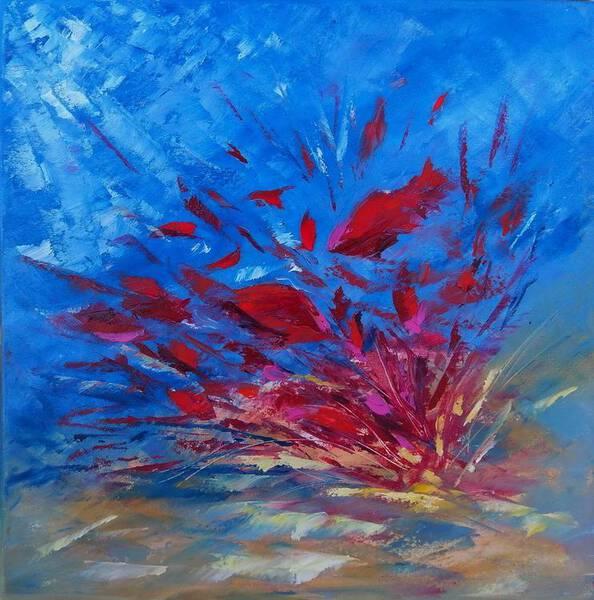 "Underwater painting ""RED BOOM"" (was made underwater)"
