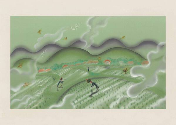 """(From the picture book """"My Grandpa"""") Scenes from the rice paddies"""