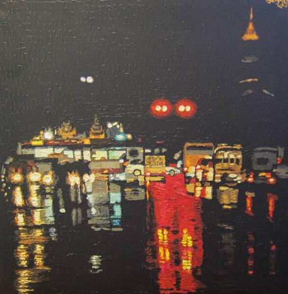 Yangon Night in the rain-2018