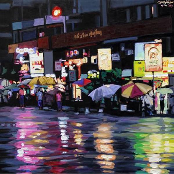 Yangon Night after rain-2019