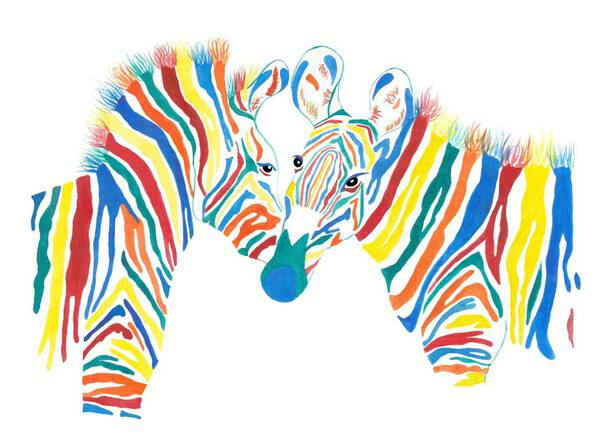 Two Colorful Zebras