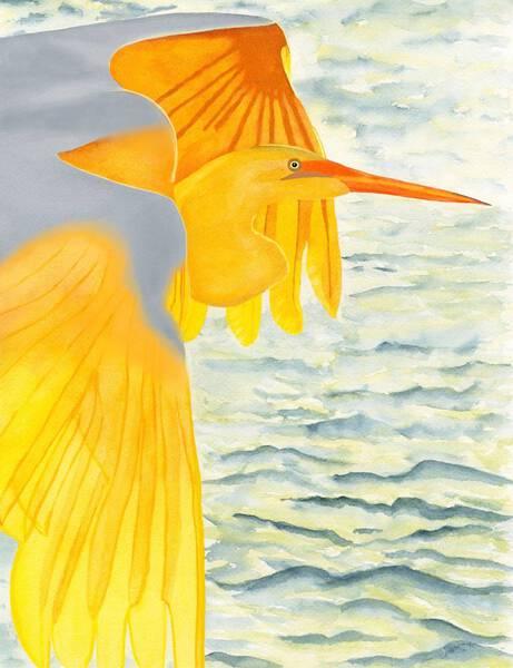 White Crane Bathed In Golden Sunlight