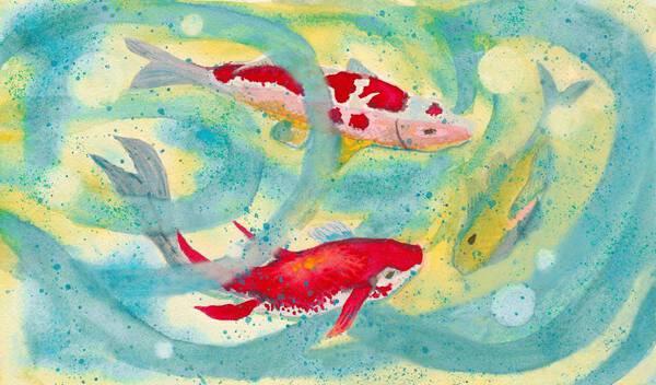 Three Koi Fish In Sunlit Lotus Pond