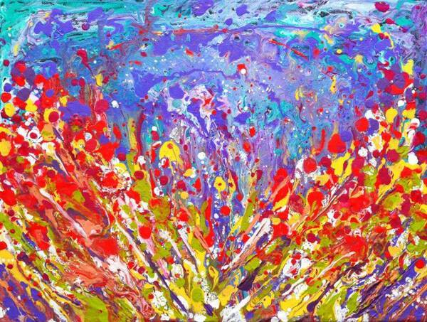 Poppies Abstract colorful Meadow Painting