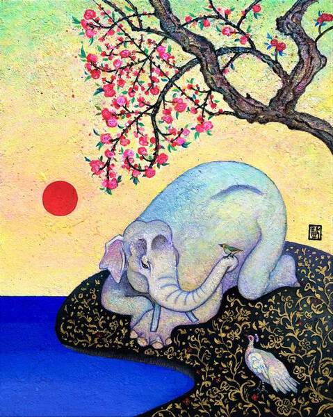 White Elephant in the Peach Blossom Garden