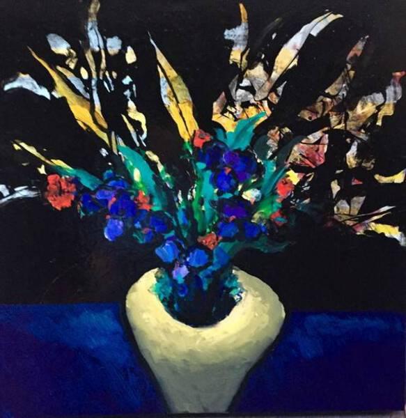 Yellow Vase with Irises