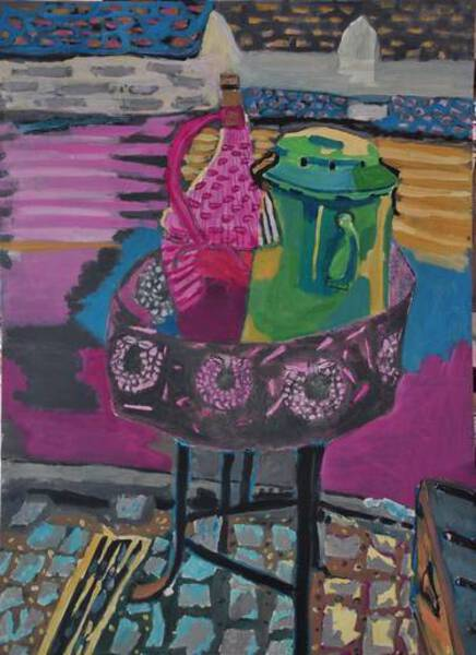 Pink jug and green kettle