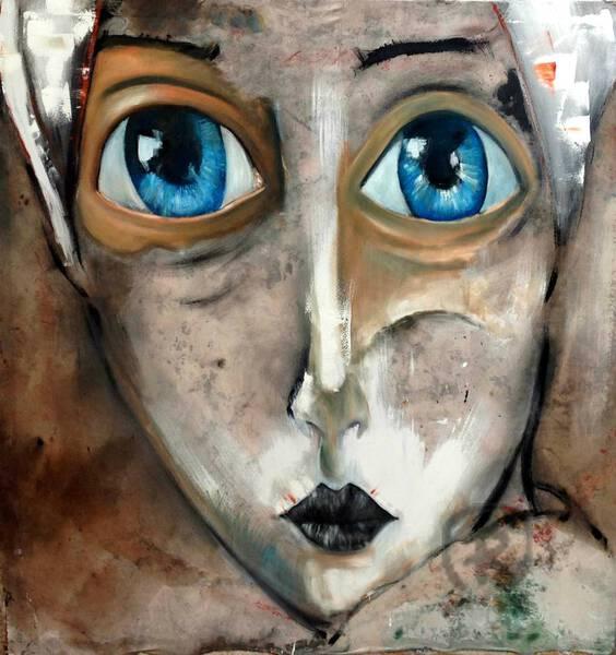 Óleo de mujer con ojos azules