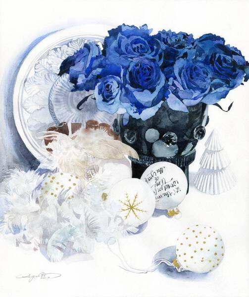 Blue Rose and White Ornament